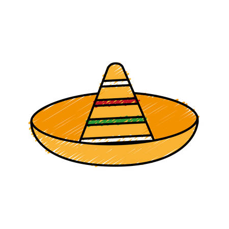 traje mexicano: mexican hat icon over white background colorful design vector illustration