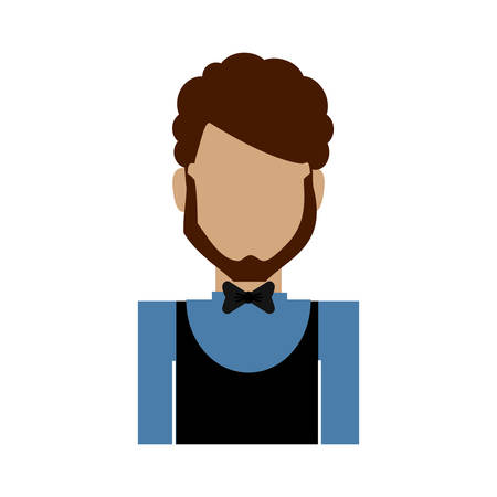 hotel waiter man icon over white background colorful design vector illustration