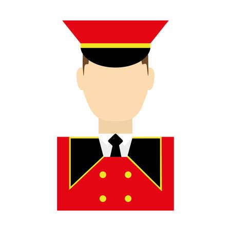 hotel bellboy icon over white background colorful design vector illustration