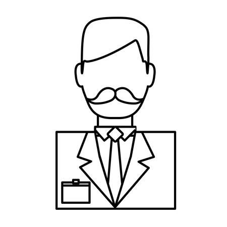 hotel receptionist man icon over white background vector illustration Illustration