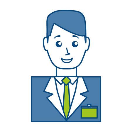 cartoon hotel receptionist man icon over white background vector illustration