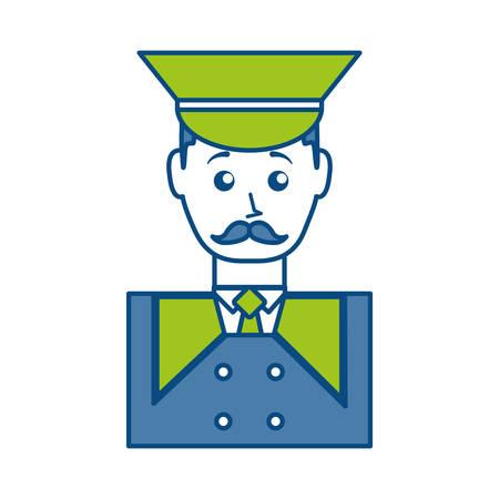 hotel staff: cartoon bellboy man icon over white background colorful design vector illustration Illustration