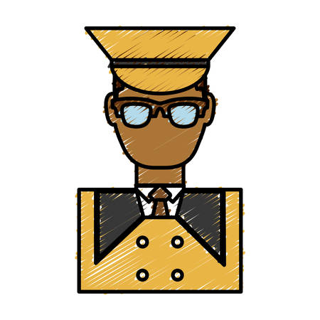 bellboy man icon over white background vector illustration