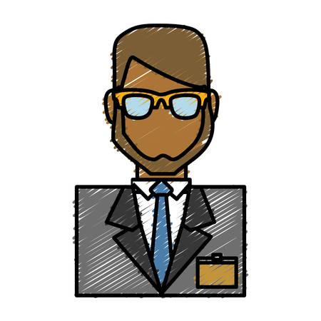 hotel receptionist man icon over white background colorful design vector illustration Illustration