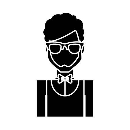 hotel waiter man icon over white background vector illustration