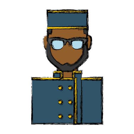 hotel staff: bellboy man icon over white background vector illustration