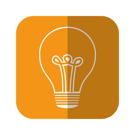 light bulb icon over orange square and white background vector illustration