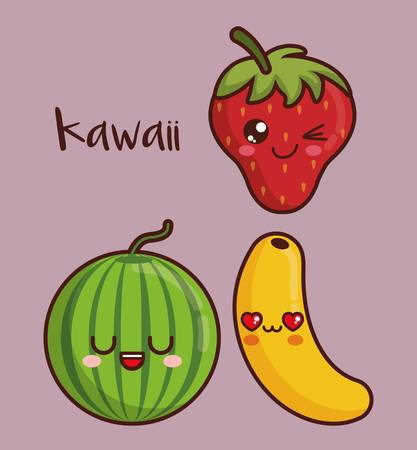 kawaii fruits icon over purple background colorful design vector illustration