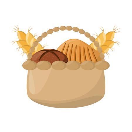 loaf: wicker basket loaf vector illustrion graphic design icon