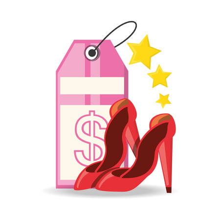 comprando zapatos: label and high heel shoes shopping concept vector illustration