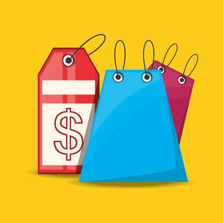 shopping bag with label over yellow background vector illustration Illustration