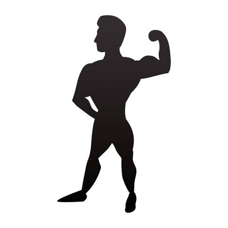 nude young: Bodybuilding man silhouette icon vector illustration graphic design Illustration