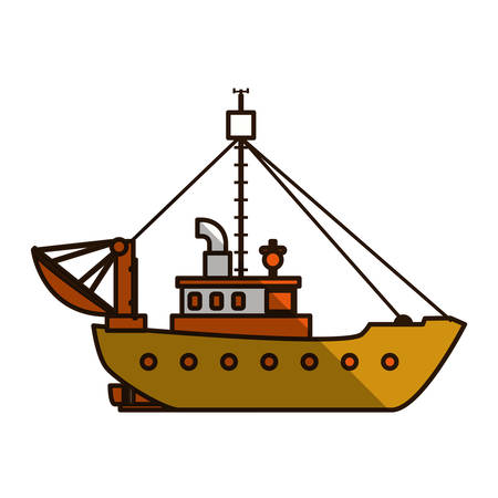 floating: Fishing boat isolated icon vector illustration graphic design Illustration