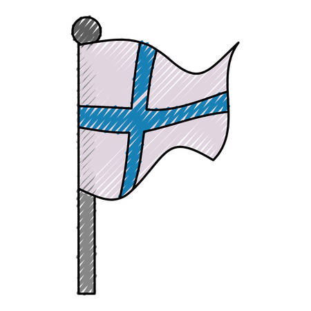 european culture: Finland flag emblem icon vector illustration graphic design Illustration