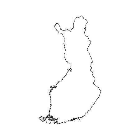 フィンランド地図シルエット アイコン ベクトル イラスト グラフィック デザイン