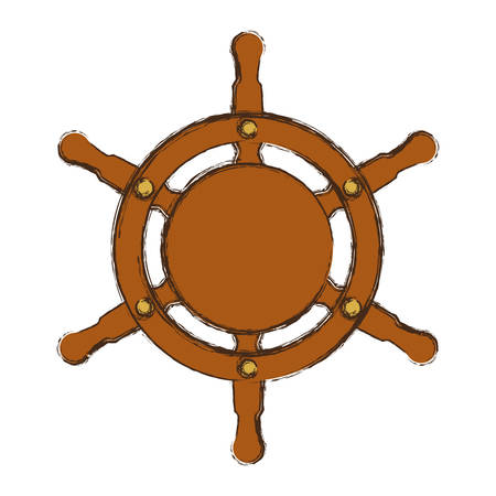 dinghy: Wooden boat helm icon vector illustration graphic design