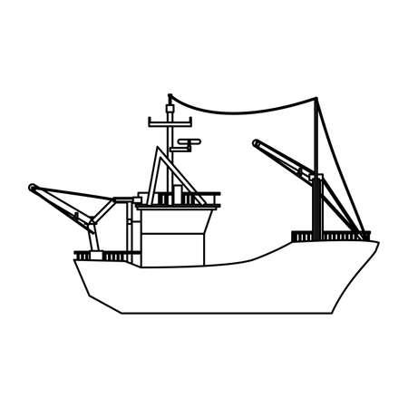Fischerboot lokalisierte Ikonenvektor-Illustrationsgrafikdesign Standard-Bild - 80058028