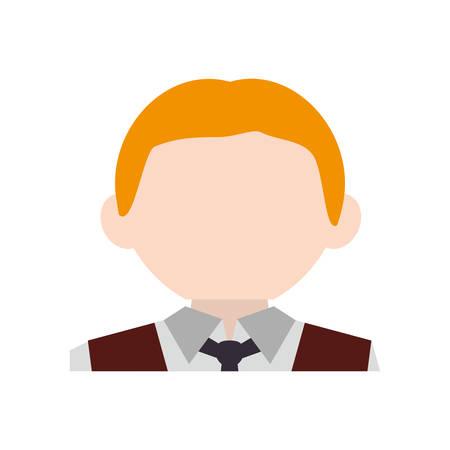 outerwear: Waiter man cartoon icon vector illustration graphic design