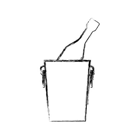 wine bottle cooler icon vector illustration graphic design Illustration