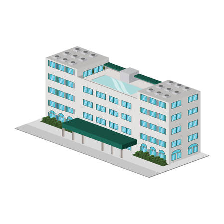 nighttime: Building hotel tourism icon vector illustration graphic design