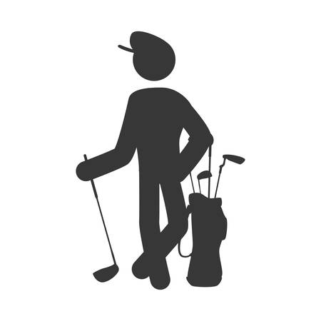 outerwear: Golf player pictogram icon vector illustration graphic design