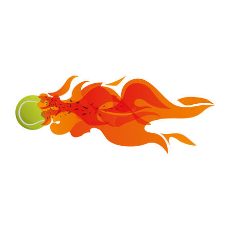 Tennis ball in flammes icon vector illustration graphic design Illustration