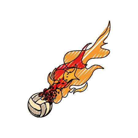 voleyball ball in flammes icon vector illustration graphic design Illustration