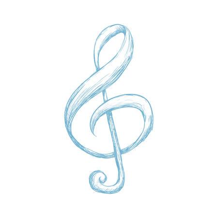 autograph: Music note draw icon vector illustration graphic design Illustration