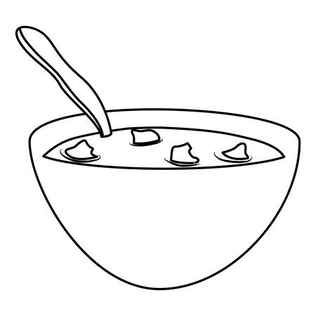 bowl of cereal: Breakfast cereal bowl icon vector illustration graphic design Illustration