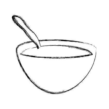 Breakfast cereal bowl icon vector ilustration graphic Çizim