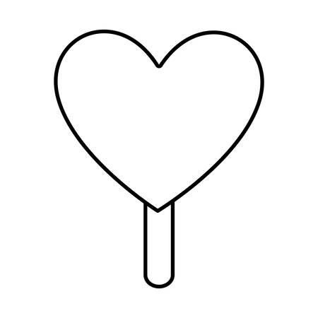 creamy: ice cream in heart shape icon over white background vector illustration Illustration