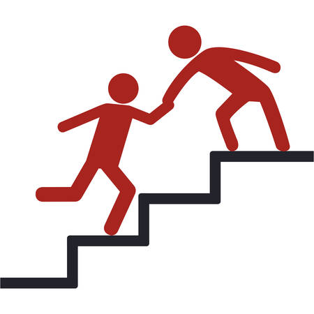 Pictogram Men helping themselves on the stairs icon over white background vector illustration