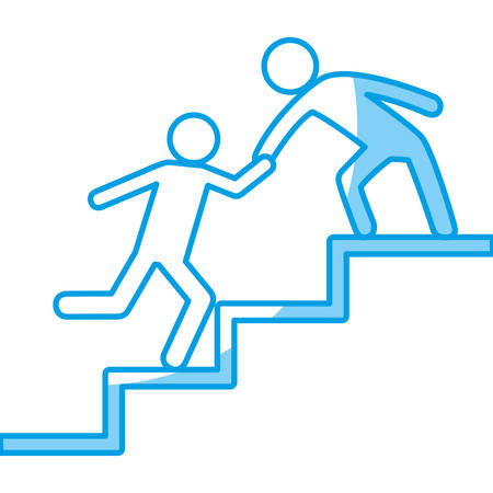 A pictogram Men helping themselves on the stairs icon over white background vector illustration.