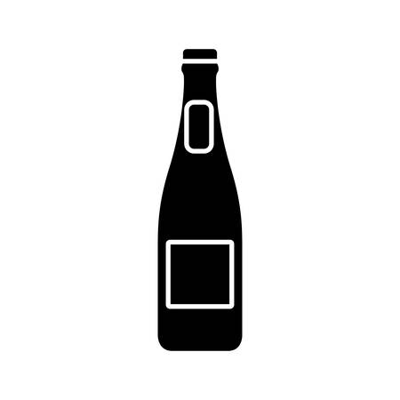 brewed: beer bottle icon over white background vector illustration