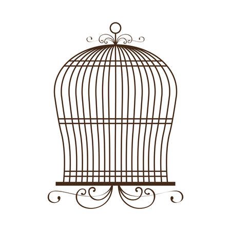 vintage birdcage icon over white background vector illustration 일러스트