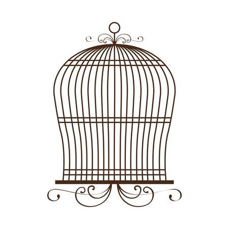 Icône vintage de birdcage sur fond blanc illustration vectorielle