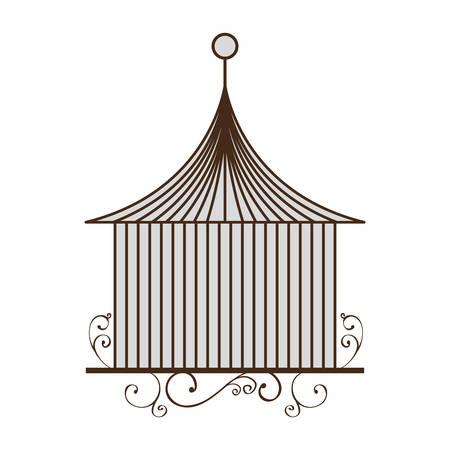 vintage birdcage icon over white background vector illustration Ilustração