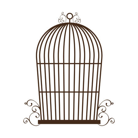 trapped: vintage birdcage icon over white background vector illustration Illustration