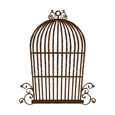 vintage birdcage icon over white background vector illustration Illustration
