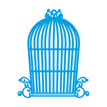Vintage birdcage icon over white background vector illustration. Illustration