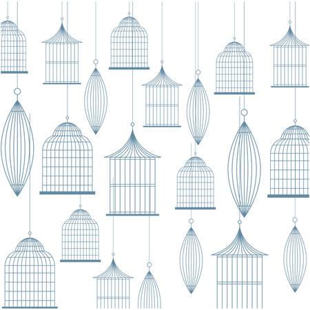 background with birdcage icons vector illustration Illusztráció