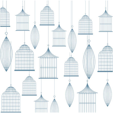 background with birdcage icons vector illustration Illustration