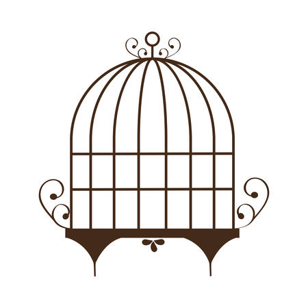 A vintage birdcage icon over white background vector illustration. Illustration