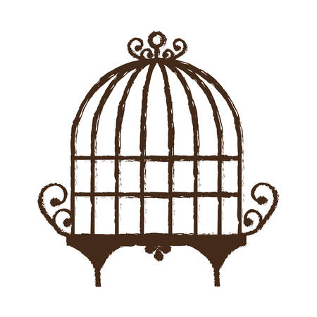 trapped: vintage birdcage icon over white background vector illustration Illustration