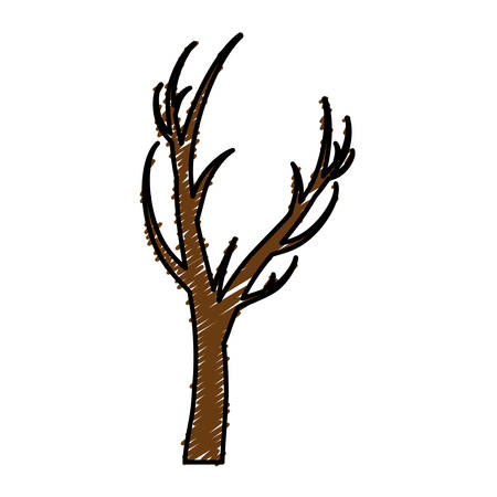 A dry tree icon over white background vector illustration.