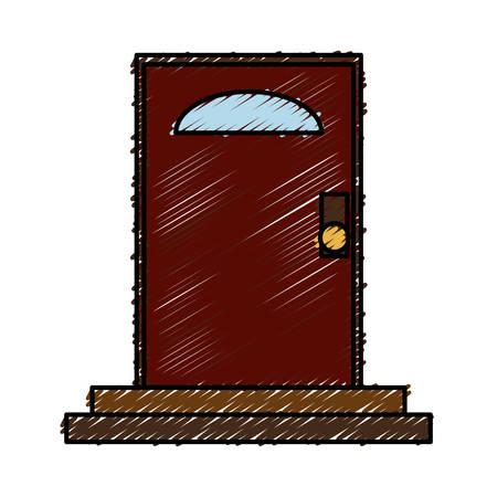 Door icon over white background colorful design vector illustration.