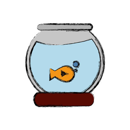 fishbowl icon over white background colorful design vector illustration Illustration