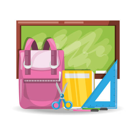 schoolkids: Accesories school tools to study education vector illustration. Illustration