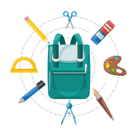 schoolkids: accesories school tools to study education vector illustration