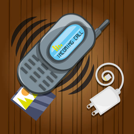 smartphone business: Cellphone with power cable and picture vector illustration